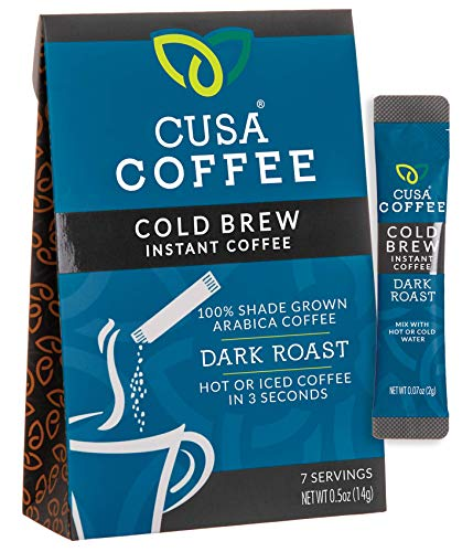 Cusa Coffee: Dark Roast Cold Brew Instant Coffee - No Sugar or Preservatives - Ready in Seconds - Hot or Iced (7 Servings)