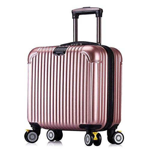 MFCJK Fashion Bagage Sets Lichtgewicht Duurzame Spinner Suitcase, 16 Inches 39 * 23 * 37 Cm koffer Champagne Zwart Travel koffer Wielen Zijgreep outdoor