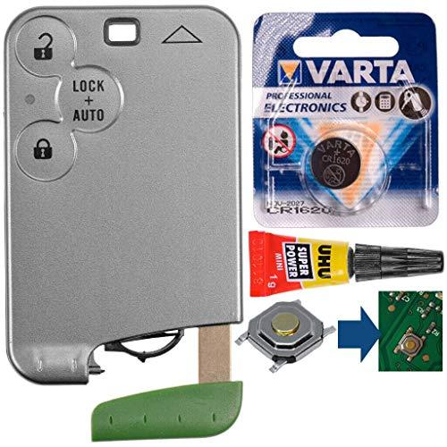 Repair Reparatur Satz Autoschlüssel Karte Smartkey Fernbedienung Austausch Gehäuse mit 3 Tasten + Notschlüssel Rohling + Drucktaste + Batterie kompatibel mit Renault Laguna 2 Espace 4 Vel Satis