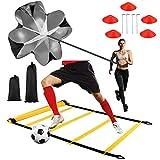 Cupinyo Speed Agility - Set di allenamento per calcio, con scala di agilità, 5 rondelle coniche, paracadute, 4 pali in acciaio e borsa per il trasporto, lascia la stella più luminosa sul posto