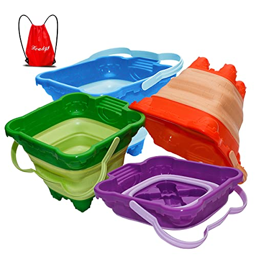 Holady Collapsible Buckets,Sand Buckets for Kids,Foldable Pail Bucket Multi Purpose for Beach, Camping Gear Water and Food Jug, Dog Bowls, Camping and Fishing Tub--2.5L(4 PCS)