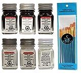 Testors Enamel Model Paints, Flat White, Gloss White, Flat Black, Semi-Gloss Black, Gloss Black, and Thinner, 1/4 oz (Pack of 6) - with Spice of Life Paint Brush Set