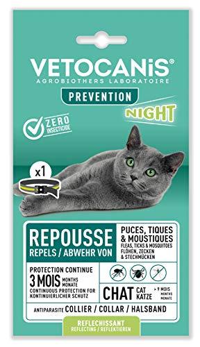 VETOCANIS Collier Anti-puces et Anti-tiques pour Chat, avec Bande Réfléchissante, Protection 3 mois