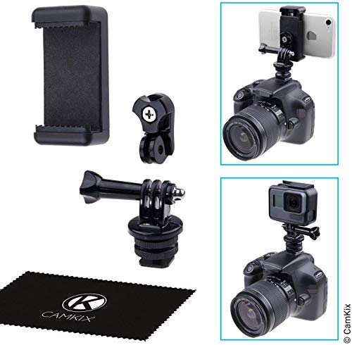 CamKix Kit Supporto Adattatore Flash Hot Shoe - Collega il tuo Telefono o Telecamera action camera al Supporto Flash della tua Fotocamera DSLR - Registra il Tuo Photo Shoot o use App del Telefono