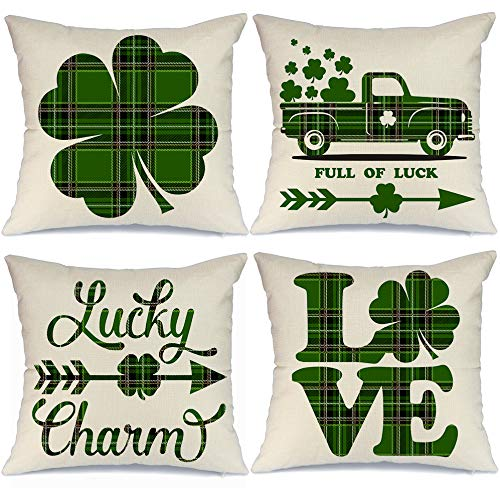 Discover Bargain AENEY St Patricks Day Pillow Covers 18x18 inch Set of 4 for Home Decor Green Buffal...