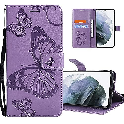COTDINFORCA Hülle für Xiaomi Redmi 8A Hülle PU Leder Schutzhülle Magnet Handytasche Bookstyle Kartenfächer Lederhülle Flip Handyhüllen für Redmi 8A Big Butterfly Light Purple KT