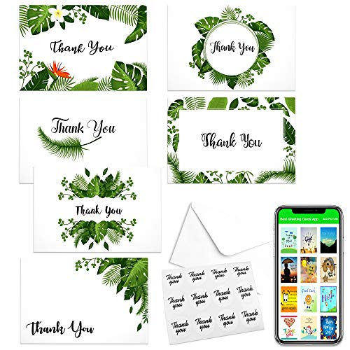 Palm Beach Vibe Thank You Cards-Notes Box of 48 with White Envelopes & Stickers 6 Greenery Designs Ideal for Wedding, Bridal & Baby Shower, Graduation, Sympathy, Business, Appreciation