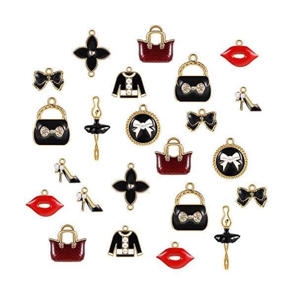 36 Pieces Enamel Rhinestone Charms Women Dress Shoes Purse Lip Pendant Charms Colorful DIY Charms for Jewelry Crafts Making