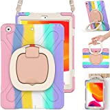 BRAECN iPad 8th 7th Generation 10.2 2020 2019 Case Kids, Shockproof Silicone Rugged Case with Screen Protector, Pencil Holder, Shoulder Strap, Handle Grip, Kickstand, Pencil Cap Holder-Rainbow Pink