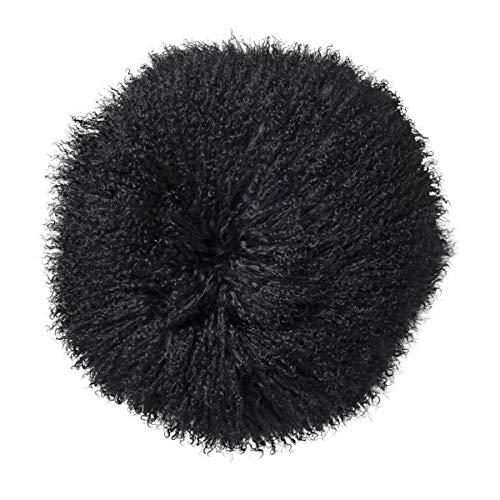 Bloomingville Kissen aus Lammfell, Black Ø35 cm, Back of 100% PL