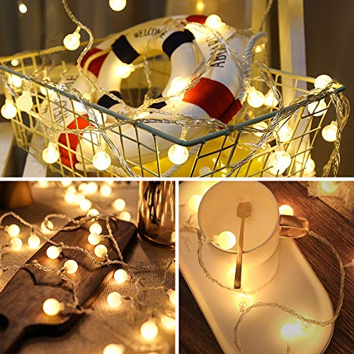 Fairy Lights,Globe String Light, USB or Battery Powered Opearated 8M 8 Modes 80 LEDs Hanging Lights with Remote Waterproof Indoor Outdoor Decorative Christmas Lights for Party Garden Wedding Bedroom