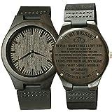 彫刻木製腕時計 息子用 ハンドメイド 天然エボニー木製腕時計 記念日 誕生日 卒業祝い 母から息子へ Unisex ハンドランド15へ