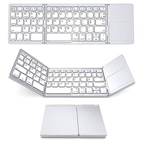 WAJJ Wireless Keyboard Mini Bluetooth Triple Folding Keyboard Draagbare Draadloze Telefoon Tablet Toetsenbord met Muis Touchpad