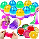 AMENON 20 Pack Slime Kit Easter Eggs Filled Colorful Crystal Fruit Slice Slime Fluffy Stretchy Non-Sticky Putty Stress Relief Toy Gift for Kids Boys Girl Easter Basket Stuffers Easter Hunt Party Favor