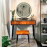 Tocadores de dormitorio Conjunto de mesa de tocador de maquillaje con DIRIGIÓ Espejo ajustable brigetness iluminada PU Tabla de vanidad de taburete de la superficie del cajón Tocador de Maquillaje