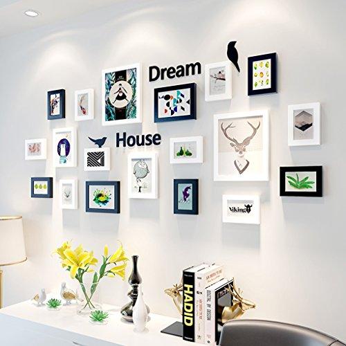 Cadre décoratif Cadre en bois massif Gallery Frame, cadre de la Galerie de photos de décoration de la maison de la mode avec des illustrations utilisables et de la famille, ensemble de 21 ( Couleur : A )
