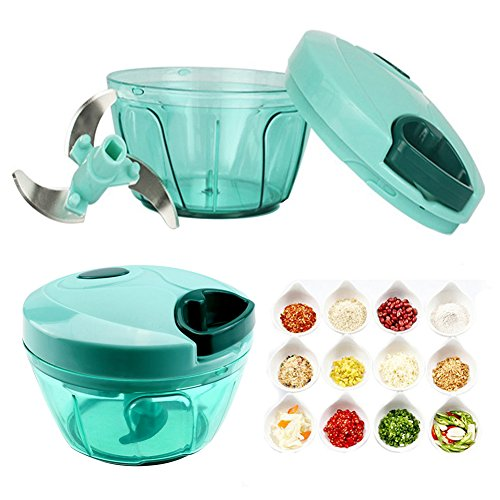 Handmatige Mini Food Chopper - Compacte Handgevoede Voedselprocessor/Blender met 3-bladen 330ML - om Fruit, Groenten, Noten, Kruiden, Uien, Vlees, Garlics voor Salsa, Salade, Pesto, Co