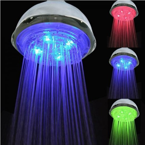 Fast shipping + Free tracking number Luxury Dream Colorful Style Shower Heads , NO need battery, Water Flow Power Temperature Sensor 3 Color Changing LED Light Rainfall Shower Head, Green / Blue / Red
