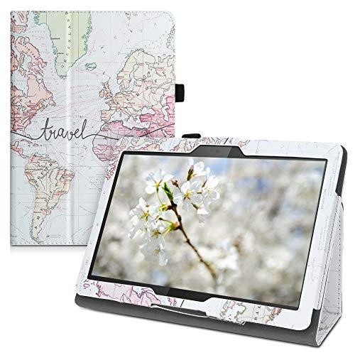 kwmobile Custodia Compatibile con Lenovo Tab M10 - Custodia Cover Tablet con Supporto - Copertina in Pelle PU Smart Case con Stand - Mappa del Mondo Nero Multicolore