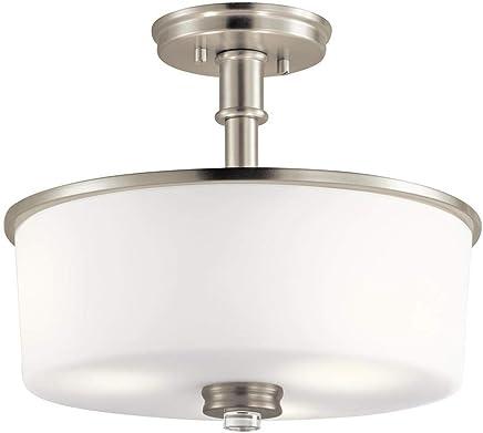 Kichler Lighting 43926NIL18 Joelson - 11.75インチ 30W 3 LED フラッシュマウント つや消しニッケル仕上げ サテンエッチング塗装ホワイトガラス
