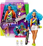 Barbie Extra Muñeca articulada con pelo azul rizado, accesorios de moda y mascotas (Mattel GRN30)...
