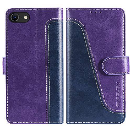 FMPCUON Custodia iPhone SE 2020/iPhone 7/8,Premium Portafoglio Magnetica Flip Case Custodie Cover a Libro Custodia in Pelle per iPhone SE 2020/iPhone 7/8,Blu/Porpora