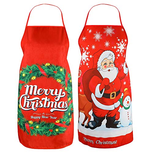 Konsait 2pack Kitchen Christmas Aprons,Santa Chef Aprons Wife and Husband Funny Xmas Apron for Men Women Adult Children Bib BBQ Cooking Christmas Party Favor Supplies