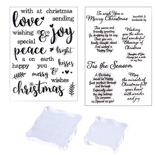 SAVITA 2 Sheets Christmas Clear Stamps and 2Pcs Acrylic Stamp Blocks, Silicone Christmas Greeting Stamps Clear Stamping Block Tools with Grid Lines for DIY Scrapbooking Crafts Card Making