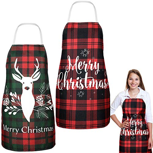 2 Pieces Christmas Aprons Buffalo Plaid Check Apron Adjustable Fabric Red Retro Gingham Elk Apron for Merry Christmas Party Cooking Kitchen Baking, 2 Styles