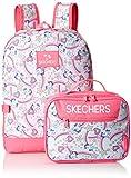 Skechers Kids Girls' Little Fushion Combo Backpack, Blue/Pink, Youth Size