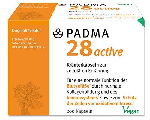 PADMA 28 active 200 Kapseln Tibetische Rezeptur 28 aus Kräutern & Mineralien mit Vitamin C. Dieses unterstützt ein Aktives Immunsystem, die Blutgefäße, Regeneration & den Schutz vor oxidativem Stress
