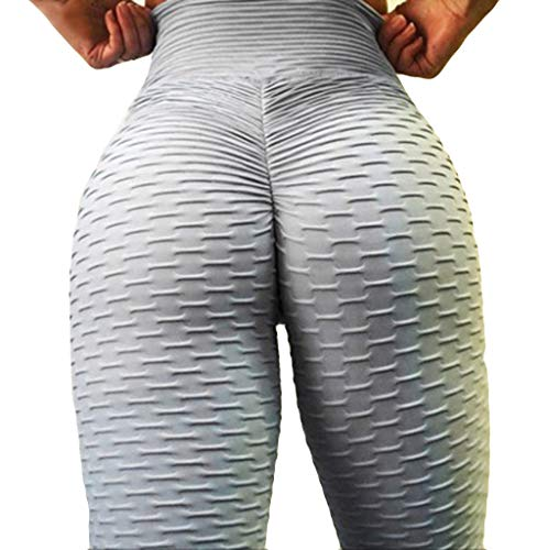 SHOBDW Pantalones Mujer Verano 2020 Mujer Regalo Color Sólido Yoga Leggings Mujer Fitness Push Up Cintura Alta Sexy Ropa Deportiva Mujer Pantalones Elasticidad(Gris,L)