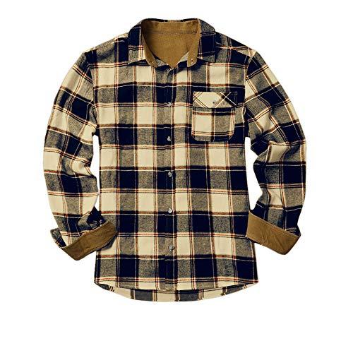 Gemijacka Flanellhemd Herren Langarm Karohemd mit Brusttasche Jungen Kariert Freizeithemd Regular Fit Men Check Shirt, Gelb, L