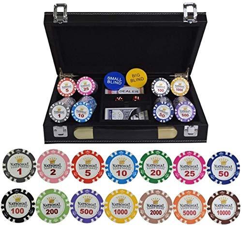 Texas Hold'em Poker Conjuntos con Estuche de Cuero PU / Caja / Maleta Gold Crown Poker Chip Clay Clasino Chips 100/200/300/400 / 500pcs / Set