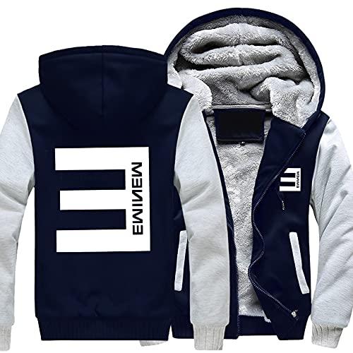 rgbh Sudadera con capucha para hombre - Eminem/Slim Shady Impreso Chaqueta Cálido Suéter Cremallera Cardigan Manga Larga Abrigos Uniforme de Béisbol C-4XL