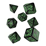 Q WORKSHOP Call of Cthulhu Black & Green RPG Ornamented Dice Set 7 Polyhedral Pieces - No Name