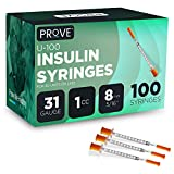 Prove Insulin Syringes 31 Gauge 1cc 8mm 5/16'' Single-use Insulin Syringe with Needle, 100 Count