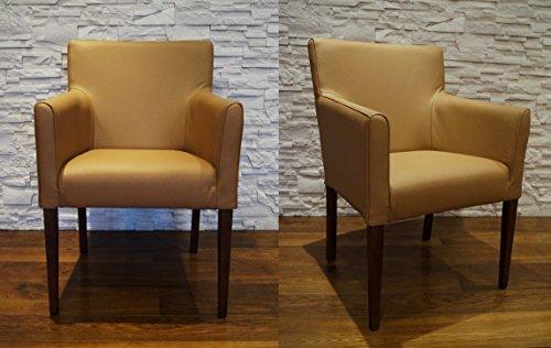 Quattro Meble Breite Echtleder Esszimmerstühle Kross Arm braun Leder & Massivholz Stühle Lederstühle Sessel mit Armlehnen Echt Leder Esszimmer Stuhl