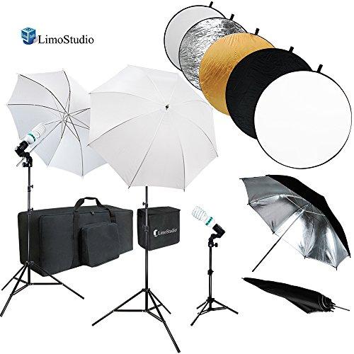 LimoStudio 43インチ ラウンドリフレクターディスク & アンブレラ反射板 フォトスタジオ 連続照明キット ホワイト&シルバーの傘 フォト電球 ソケット ライトスタンド三脚 キャリーバッグ AGG738V3
