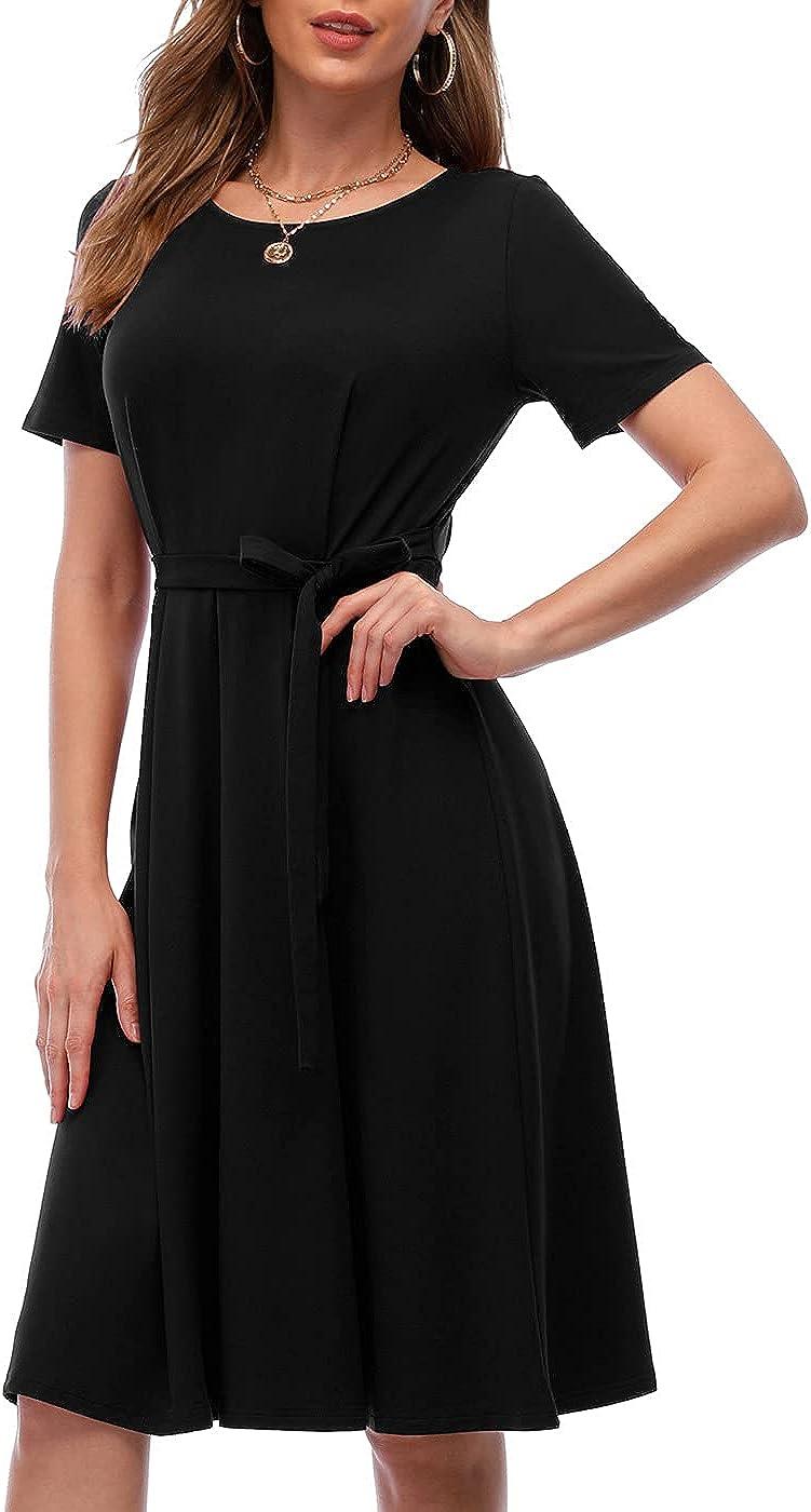 CHARMYI Tshirt Dresses for Women Casual Summer Dresses for Women Swing Shirt Dresses for Women Midi Length