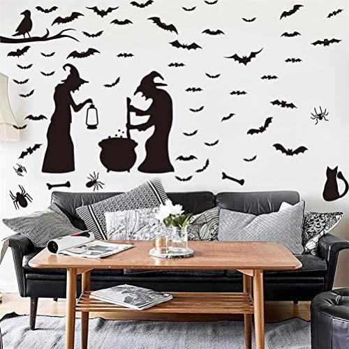 Mumaya Conjunto de adesivos de parede de Halloween, adesivos de parede de Halloween, gato bruxa morcego, aranhas, lareira, adesivos de parede de Halloween