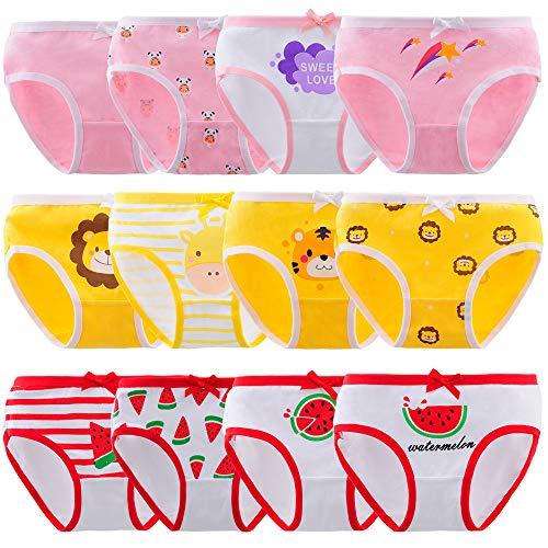 Anntry Niños Paquete de 12 Calzoncillos Calzoncillos cómodos y Suaves Ropa Interior de algodón Niñas pequeñas Bragas Surtidas 2-12 años (Color-9, 2-4 años)