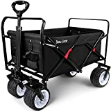 BEAU JARDIN Folding Wagon Cart 300 Pound Capacity Collapsible Utility Camping Grocery Canvas Portable Rolling Lightweight Buggies Outdoor Garden Sports Heavy Duty Shopping Wide All Terrain Wheel Black