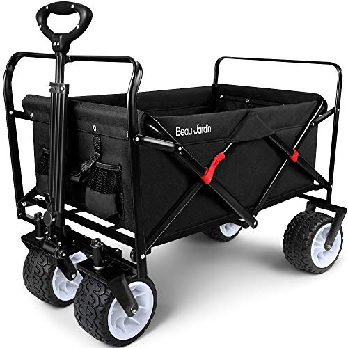 BEAU JARDIN Folding Wagon Cart 300 Pound Capacity Collapsible Utility Camping Grocery Canvas Portable Rolling Lightweight Outdoor Garden Sports Heavy Duty Shopping Wide All Terrain Beach Wheel Black