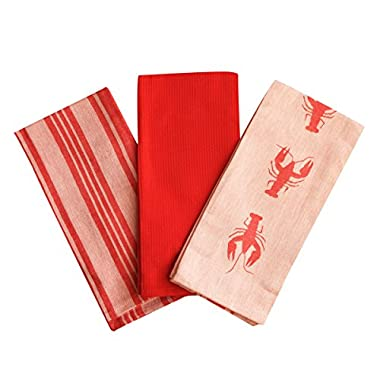 Kitchen Dish Towel by F.E.D, Extra Large Tea Towel in 3 colours, 100% Professional Cotton, Machine Washable Fabric (Set/Pack of 3) (Red Lobster)