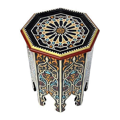 Mesa auxiliar oriental BAB de Lorient, de madera, pintada a mano, 53 x 45 cm de diámetro, para tu salón, estilo antiguo, estilo marroquí, 100% artesanal