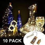 10 Stück LED Flaschenlicht, 20 LEDs 2M Lichterkette Kupferdraht batteriebetriebene Weinflasche Lichter mit Kork Schnurlicht für DIY Deko Weihnachten Party Urlaub Stimmungslichter (Warmweiß) - 2
