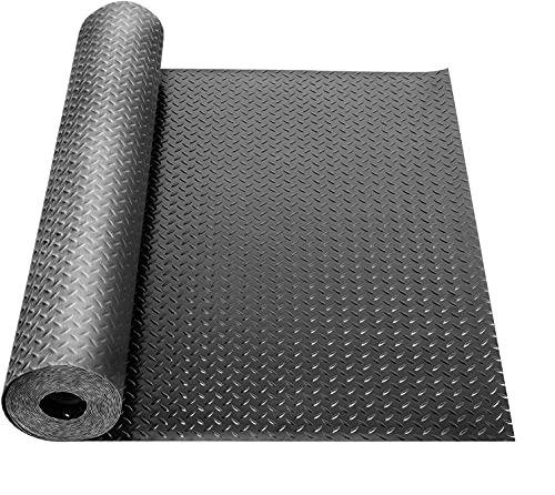 uyoyous 3.3 x 16.4FT Rubber Diamond Garage Floor Roll Diamond Tread Rollout Garage Flooring Rolls Diamond Plate Rubber Flooring Rolls Diamond Plate Pattern Flooring for Garage Industry Gym