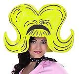 Extra große Damen Schaumstoff Perücke Gelb Pop Art 60er Jahre Hut Kopfbedeckung Kostüm-Zubehör JGA