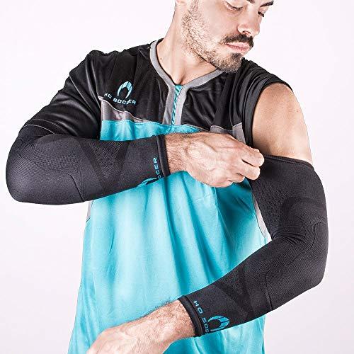 HO Soccer Protek Arm Manguitos Técnicos Antiabrasión para Portero, Unisex Adulto, Negro, L